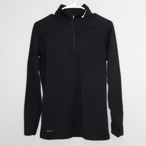 Nike Black Pro Combat Fitted Thumbhole Jacket